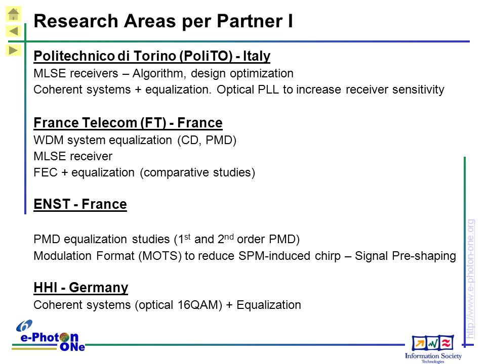http://www.e-photon-one.org Research Areas per Partner I Politechnico di Torino (PoliTO) - Italy MLSE receivers – Algorithm, design optimization Coherent systems + equalization.