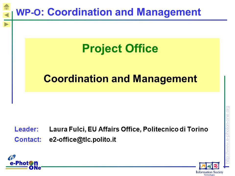 http://www.e-photon-one.org WP-O : Coordination and Management Project Office Coordination and Management Leader: Laura Fulci, EU Affairs Office, Politecnico di Torino Contact: e2-office@tlc.polito.it