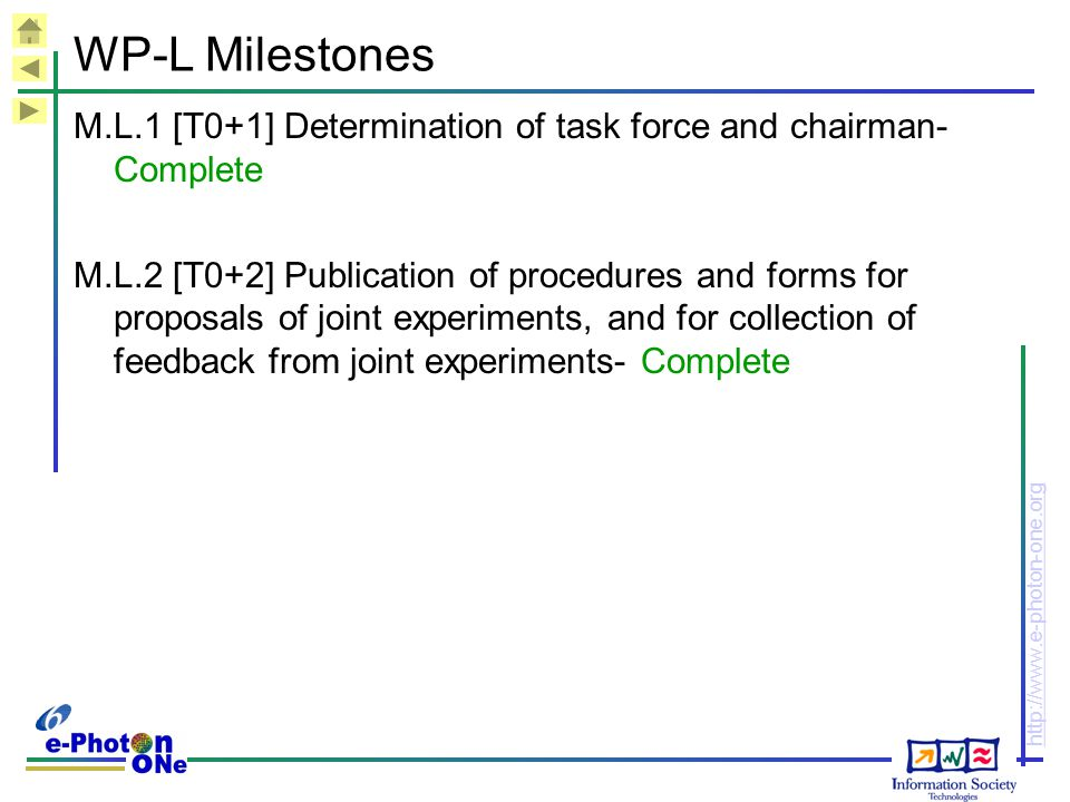 http://www.e-photon-one.org WP-L Milestones M.L.1 [T0+1] Determination of task force and chairman- Complete M.L.2 [T0+2] Publication of procedures and