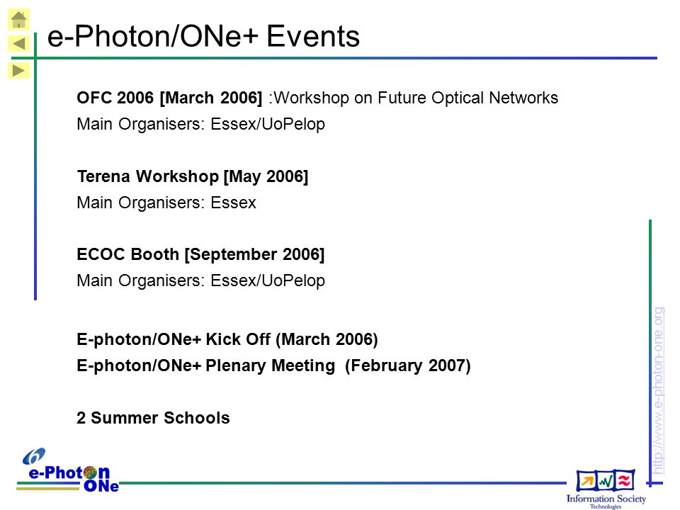 http://www.e-photon-one.org e-Photon/ONe+ Events OFC 2006 [March 2006] :Workshop on Future Optical Networks Main Organisers: Essex/UoPelop Terena Work