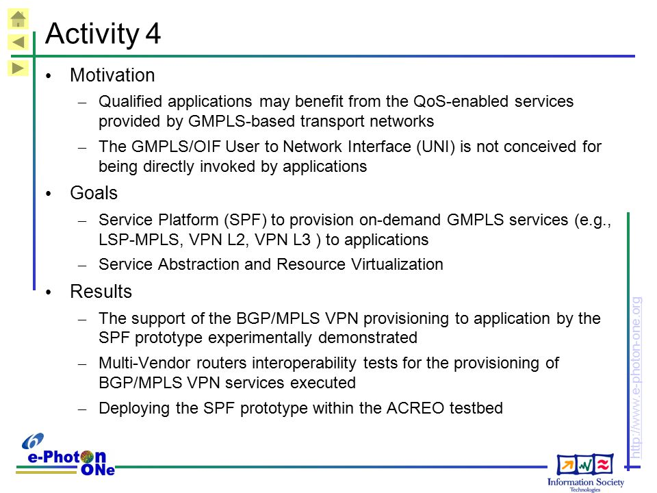 http://www.e-photon-one.org Activity 4 Motivation – Qualified applications may benefit from the QoS-enabled services provided by GMPLS-based transport