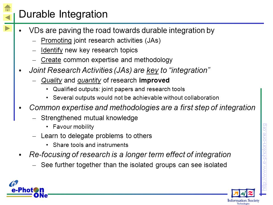 http://www.e-photon-one.org Durable Integration VDs are paving the road towards durable integration by – Promoting joint research activities (JAs) – I