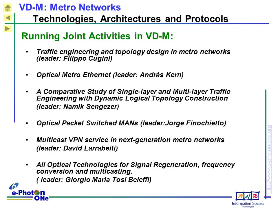 http://www.e-photon-one.org Traffic engineering and topology design in metro networks (leader: Filippo Cugini) Optical Metro Ethernet (leader: András