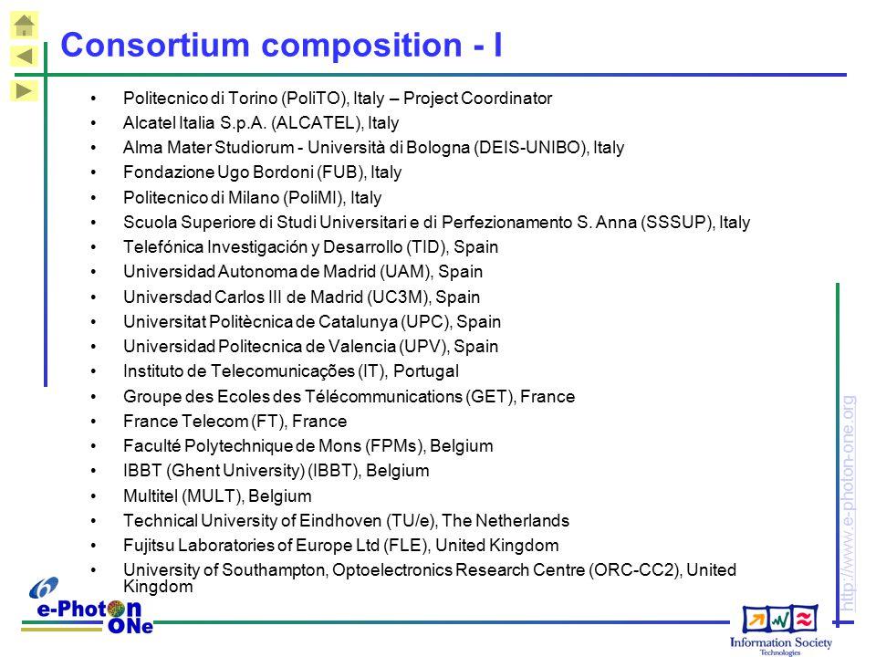 http://www.e-photon-one.org Consortium composition - I Politecnico di Torino (PoliTO), Italy – Project Coordinator Alcatel Italia S.p.A.