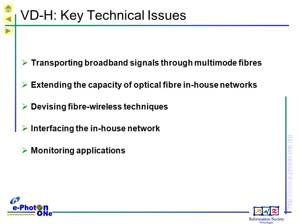 http://www.e-photon-one.org VD-H: Key Technical Issues  Transporting broadband signals through multimode fibres  Extending the capacity of optical f