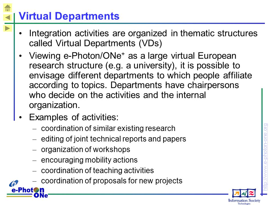 http://www.e-photon-one.org Virtual Departments Integration activities are organized in thematic structures called Virtual Departments (VDs) Viewing e