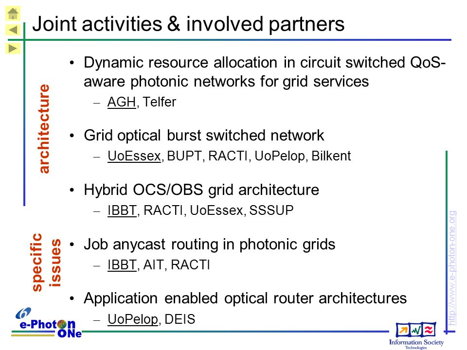 http://www.e-photon-one.org Joint activities & involved partners Dynamic resource allocation in circuit switched QoS- aware photonic networks for grid