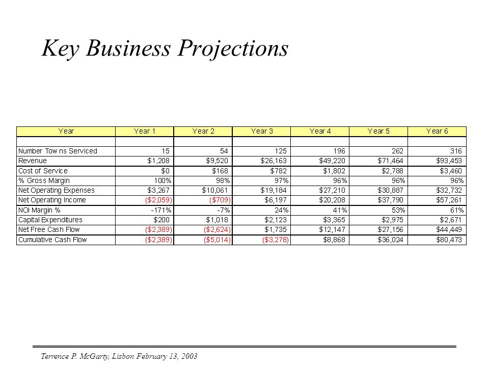 Terrence P. McGarty, Lisbon February 13, 2003 Key Business Projections