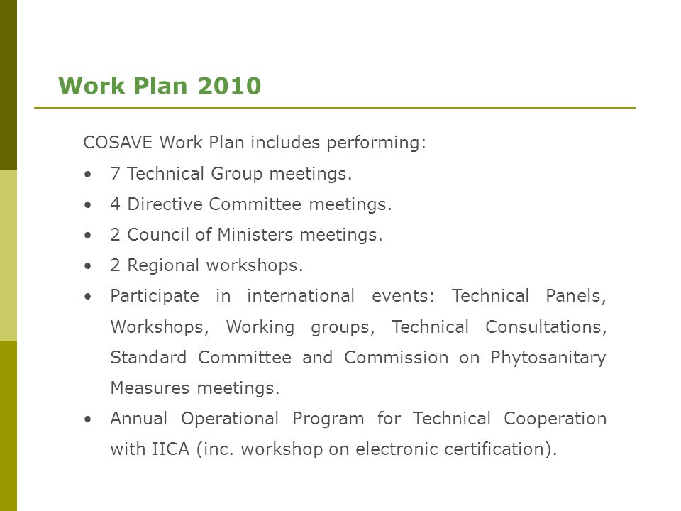 Work Plan 2010 COSAVE Work Plan includes performing: 7 Technical Group meetings.