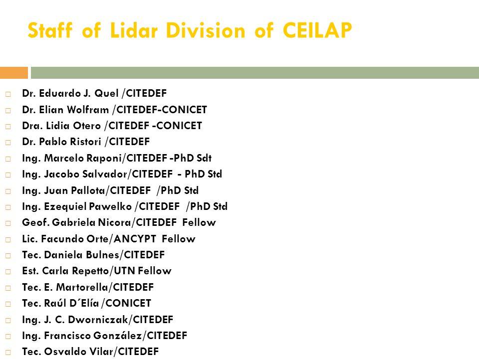 Staff of Lidar Division of CEILAP  Dr.Eduardo J.