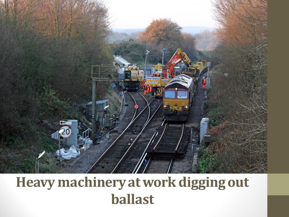 Heavy machinery at work digging out ballast