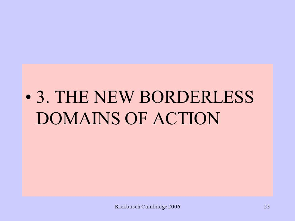 Kickbusch Cambridge 200625 3. THE NEW BORDERLESS DOMAINS OF ACTION