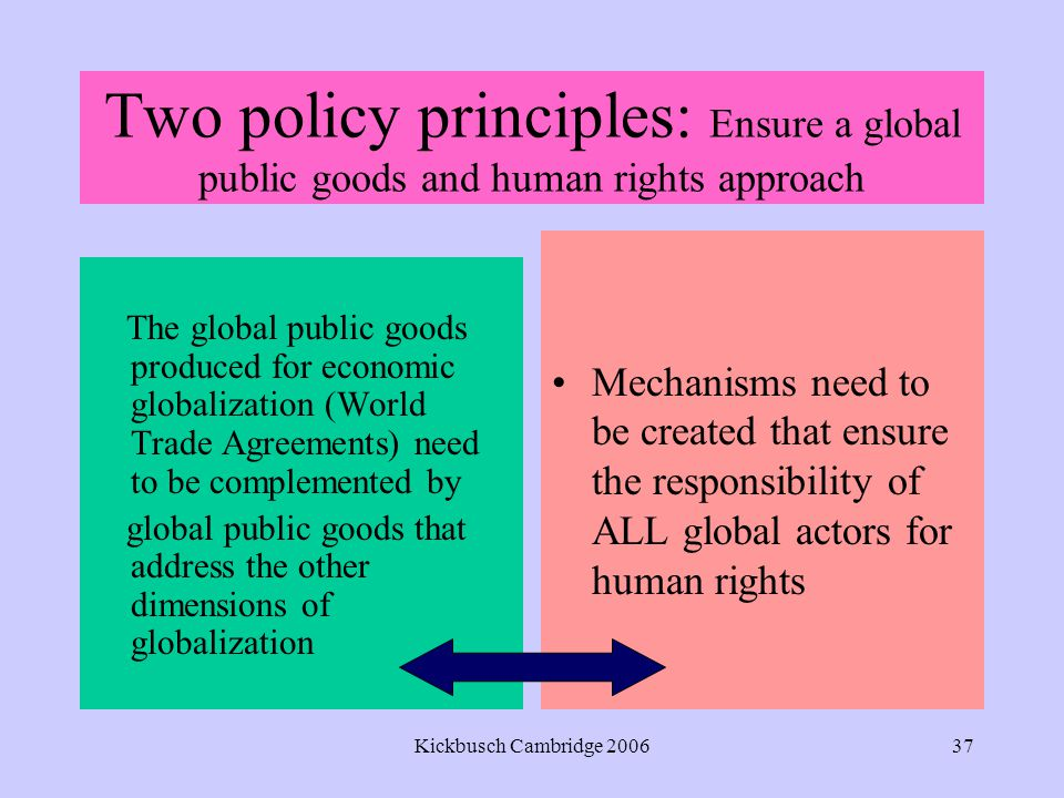 Kickbusch Cambridge 200637 Two policy principles: Ensure a global public goods and human rights approach The global public goods produced for economic globalization (World Trade Agreements) need to be complemented by global public goods that address the other dimensions of globalization Mechanisms need to be created that ensure the responsibility of ALL global actors for human rights