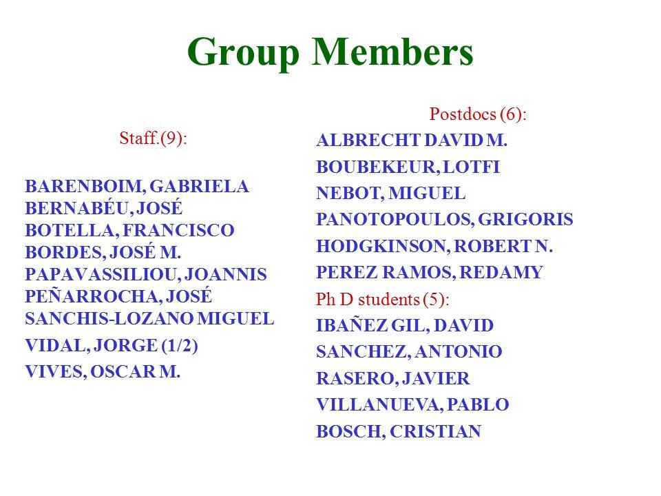 Group Members Staff.(9): BARENBOIM, GABRIELA BERNABÉU, JOSÉ BOTELLA, FRANCISCO BORDES, JOSÉ M.
