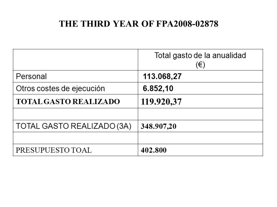 Total gasto de la anualidad (€) Personal 113.068,27 Otros costes de ejecución 6.852,10 TOTAL GASTO REALIZADO 119.920,37 TOTAL GASTO REALIZADO (3A) 348.907,20 PRESUPUESTO TOAL402.800 THE THIRD YEAR OF FPA2008-02878