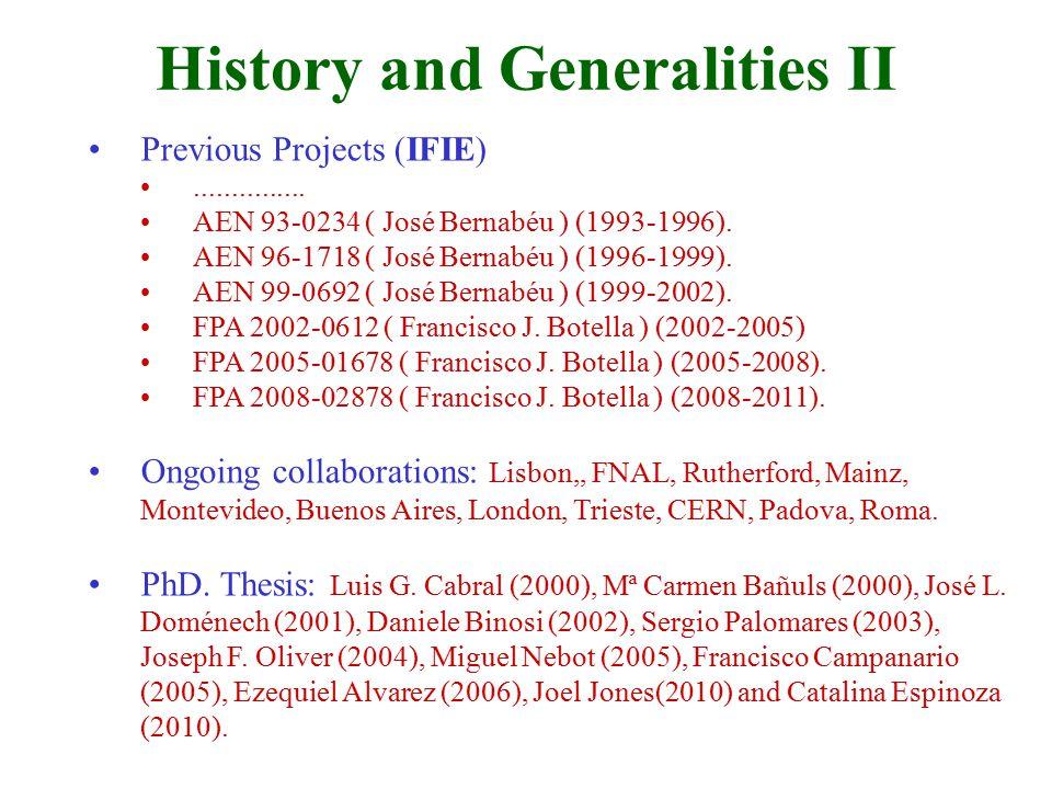 Previous Projects (IFIE)............... AEN 93-0234 ( José Bernabéu ) (1993-1996).