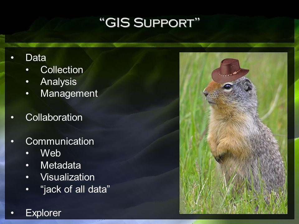 "Data Collection Analysis Management Collaboration Communication Web Metadata Visualization ""jack of all data"" Explorer ""GIS Support"""