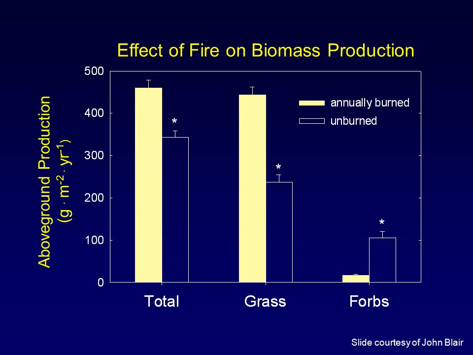 Aboveground Production (g · m -2 · yr -1 ) Effect of Fire on Biomass Production Slide courtesy of John Blair