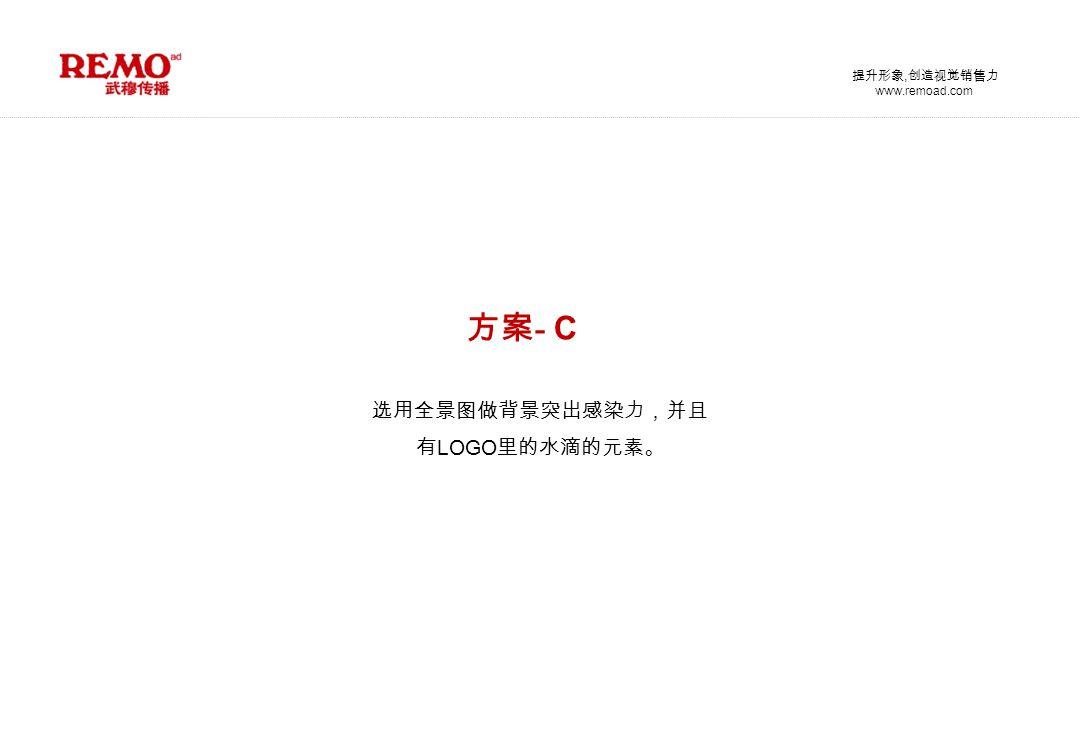 www.remoad.com 提升形象, 创造视觉销售力 方案 - C 选用全景图做背景突出感染力,并且 有 LOGO 里的水滴的元素。