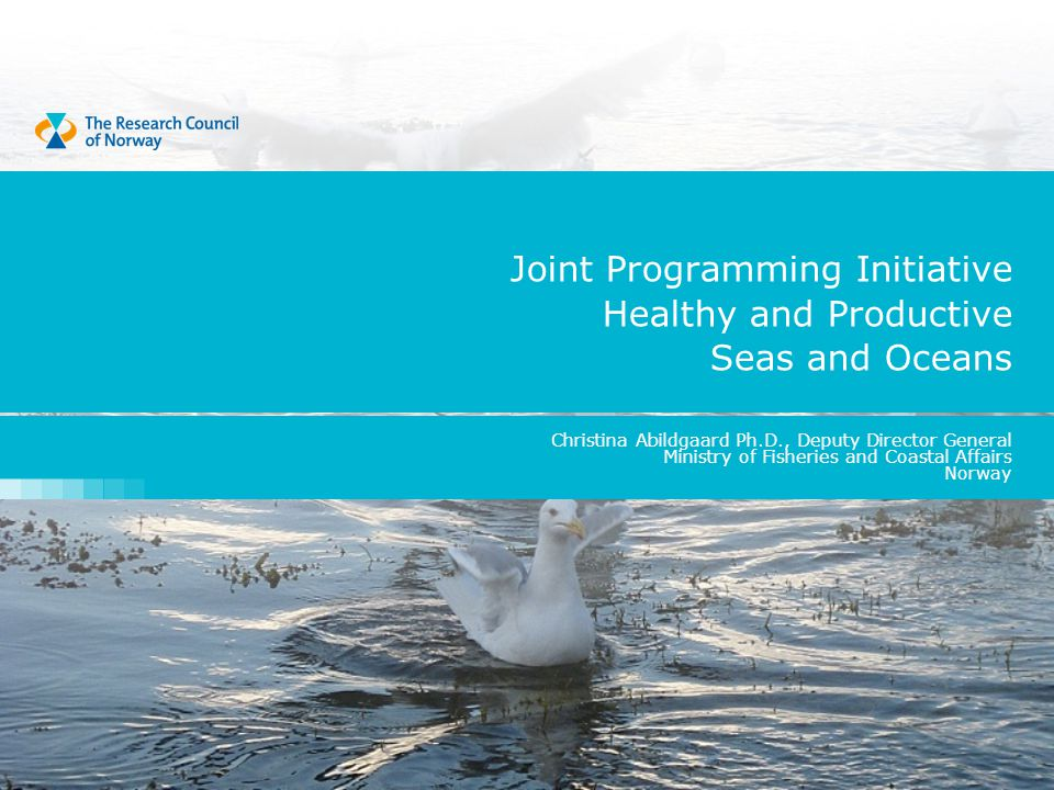 Joint Programming Initiative Healthy and Productive Seas and Oceans Christina Abildgaard Ph.D., Deputy Director General Ministry of Fisheries and Coastal Affairs Norway