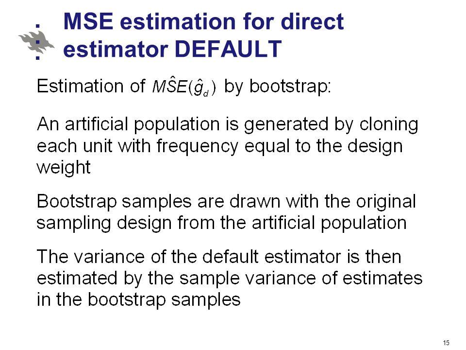 MSE estimation for direct estimator DEFAULT 15