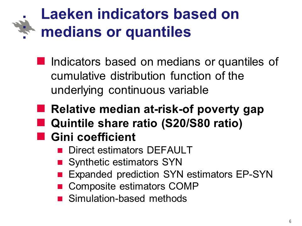 Laeken indicators based on medians or quantiles Indicators based on medians or quantiles of cumulative distribution function of the underlying continu