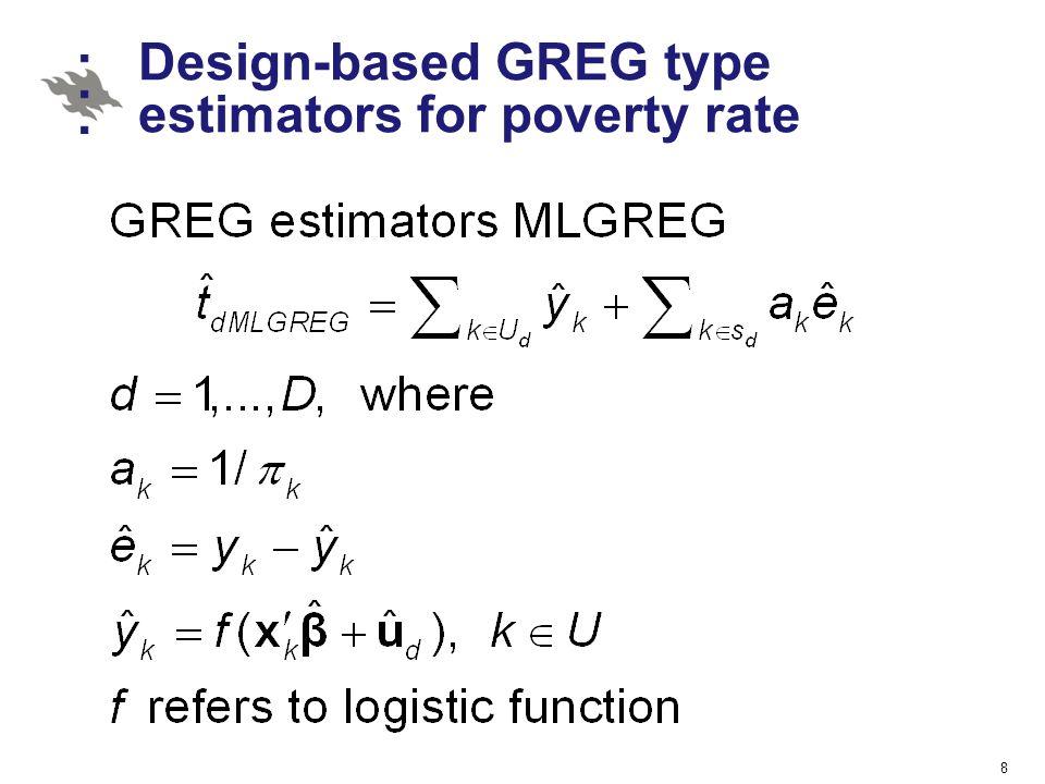 Design-based GREG type estimators for poverty rate 8
