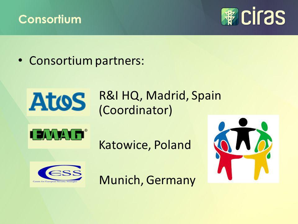 Consortium Consortium partners: R&I HQ, Madrid, Spain (Coordinator) Katowice, Poland Munich, Germany