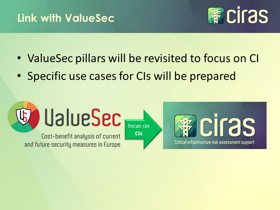 Link with ValueSec ValueSec pillars will be revisited to focus on CI Specific use cases for CIs will be prepared focus on CIs