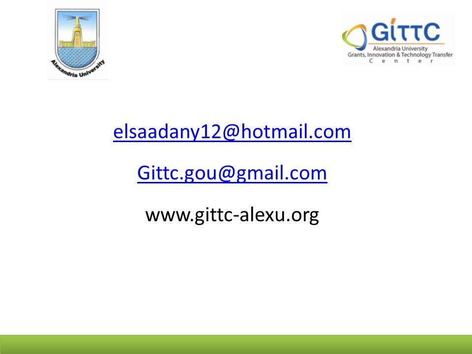 elsaadany12@hotmail.com Gittc.gou@gmail.com www.gittc-alexu.org