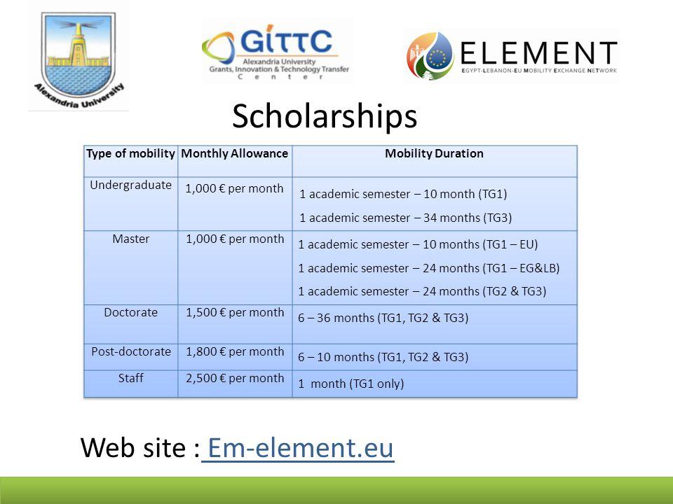 Scholarships Web site : Em-element.eu