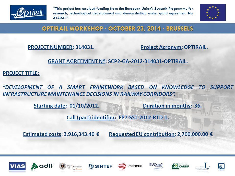 OPTIRAIL WORKSHOP · OCTOBER 23, 2014 · BRUSSELS PROJECT NUMBER: 314031.