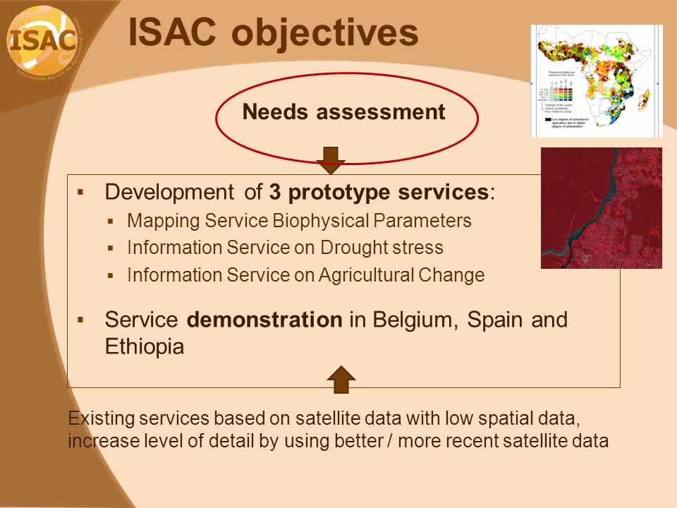 ISAC objectives  Development of 3 prototype services:  Mapping Service Biophysical Parameters  Information Service on Drought stress  Information Service on Agricultural Change  Service demonstration in Belgium, Spain and Ethiopia Existing services based on satellite data with low spatial data, increase level of detail by using better / more recent satellite data Needs assessment