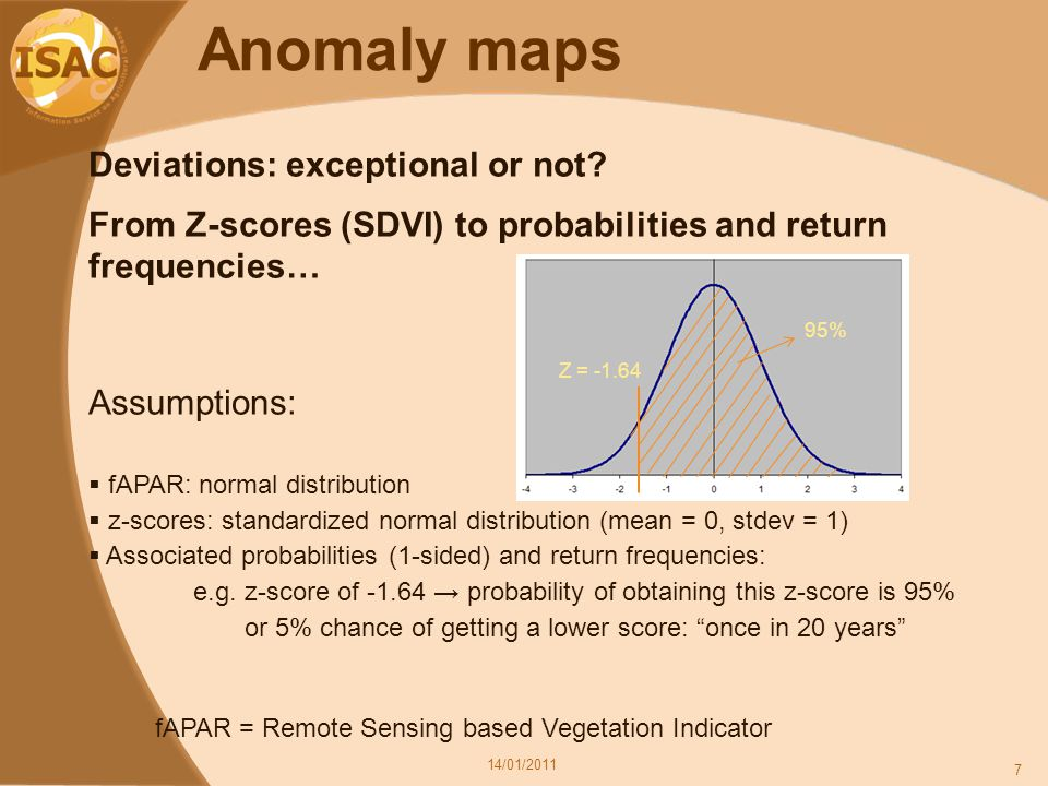 Anomaly maps 14/01/2011 7 Deviations: exceptional or not.