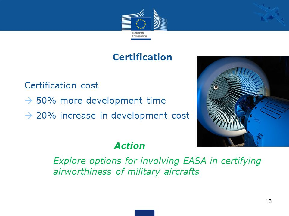 Certification Certification cost  50% more development time  20% increase in development cost Action Explore options for involving EASA in certifying airworthiness of military aircrafts 13