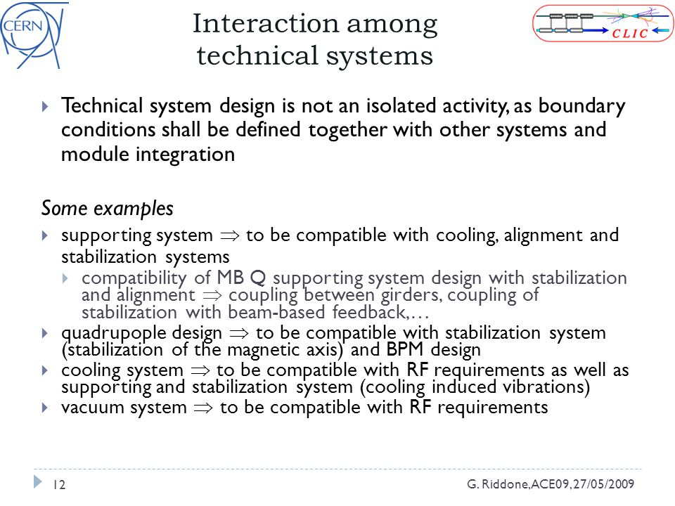 Interaction among technical systems G.