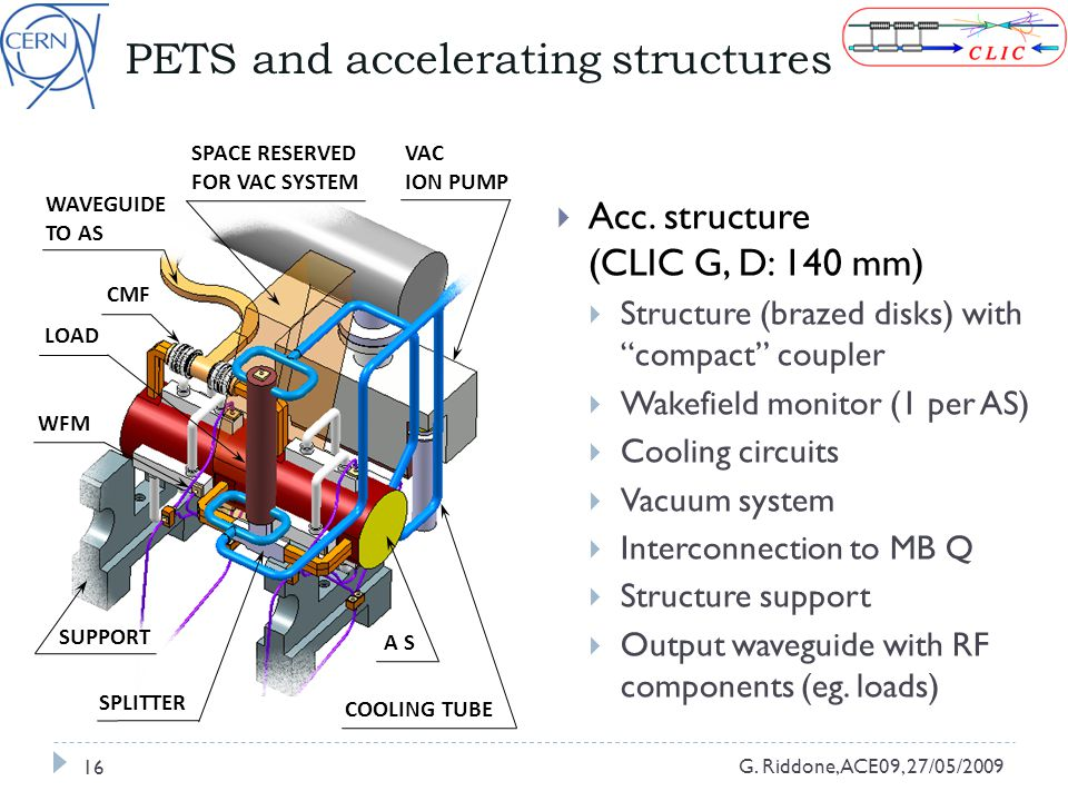 PETS and accelerating structures G. Riddone, ACE09, 27/05/2009 16  Acc.