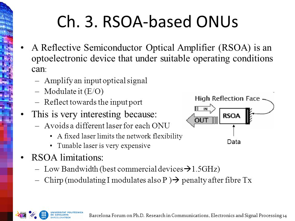 Ch. 3. RSOA-based ONUs A Reflective Semiconductor Optical Amplifier (RSOA) is an optoelectronic device that under suitable operating conditions can :
