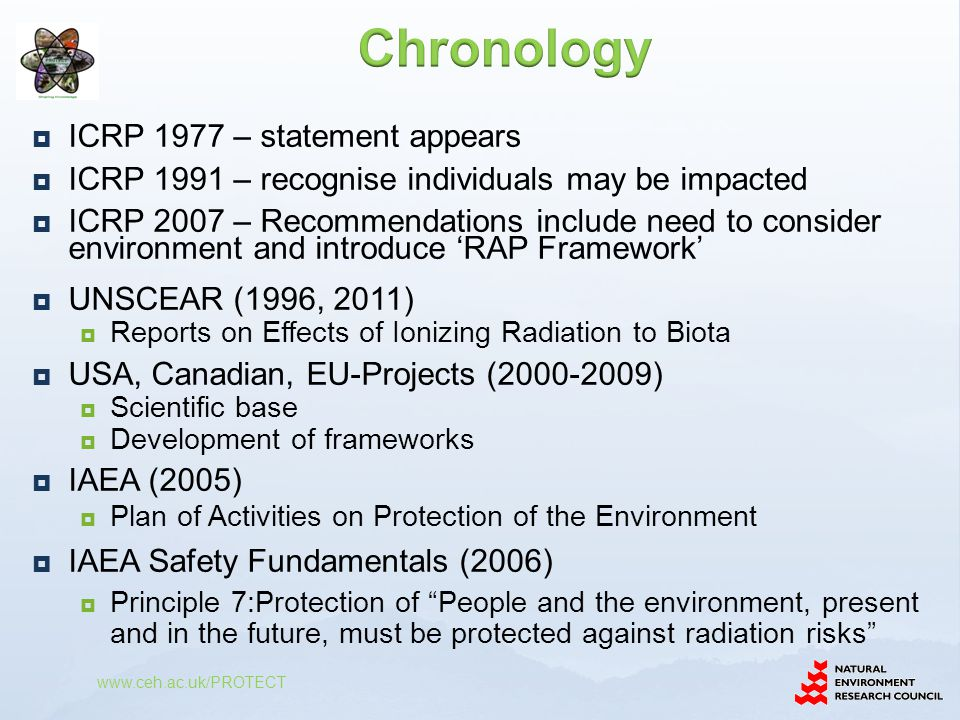  ICRP 1977 – statement appears  ICRP 1991 – recognise individuals may be impacted  ICRP 2007 – Recommendations include need to consider environment and introduce 'RAP Framework'  UNSCEAR (1996, 2011)  Reports on Effects of Ionizing Radiation to Biota  USA, Canadian, EU-Projects ( )  Scientific base  Development of frameworks  IAEA (2005)  Plan of Activities on Protection of the Environment  IAEA Safety Fundamentals (2006)  Principle 7:Protection of People and the environment, present and in the future, must be protected against radiation risks