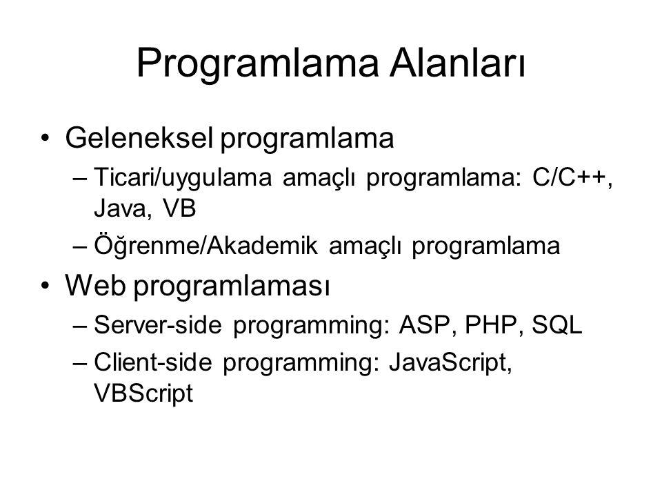 Programlama Alanları Geleneksel programlama –Ticari/uygulama amaçlı programlama: C/C++, Java, VB –Öğrenme/Akademik amaçlı programlama Web programlaması –Server-side programming: ASP, PHP, SQL –Client-side programming: JavaScript, VBScript