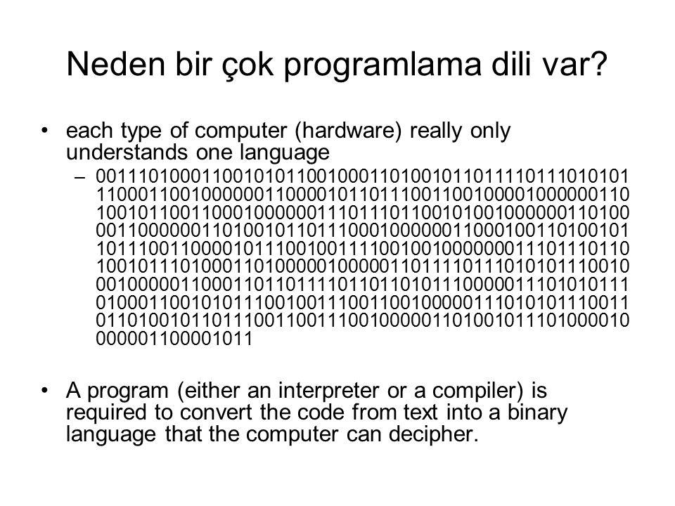 Neden bir çok programlama dili var? each type of computer (hardware) really only understands one language –0011101000110010101100100011010010110111101