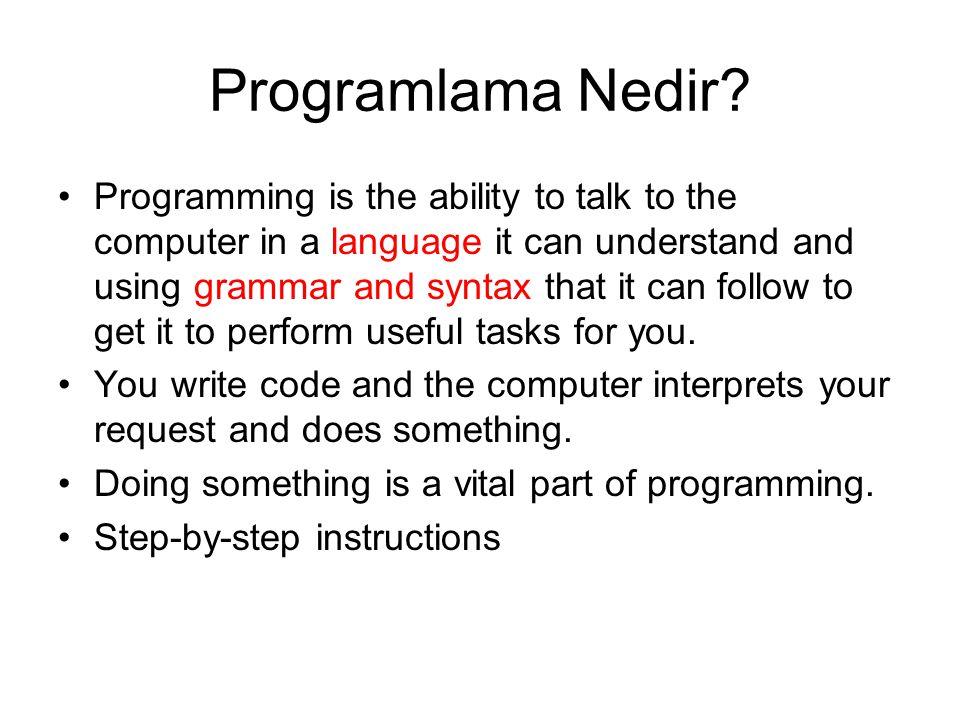 Programlama Nedir.