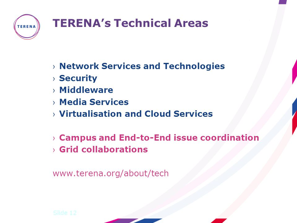 TERENA's Technical Areas ›Network Services and Technologies ›Security ›Middleware ›Media Services ›Virtualisation and Cloud Services ›Campus and End-to-End issue coordination ›Grid collaborations www.terena.org/about/tech Slide 12