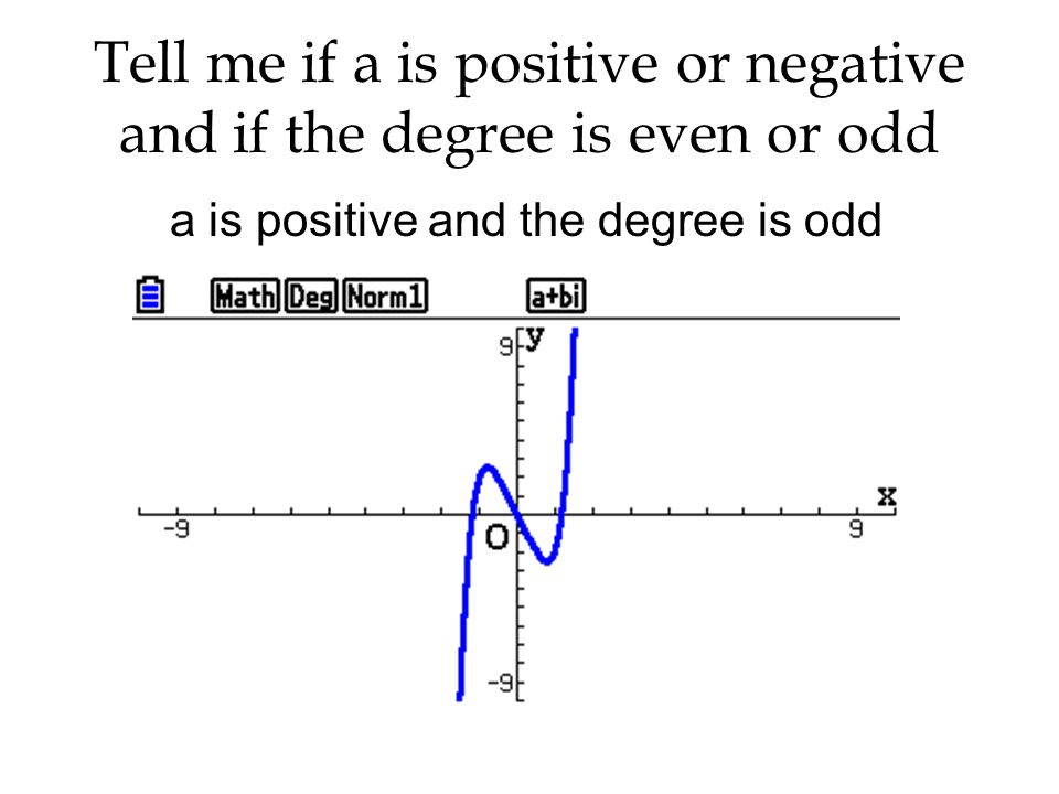 a is positive and the degree is odd