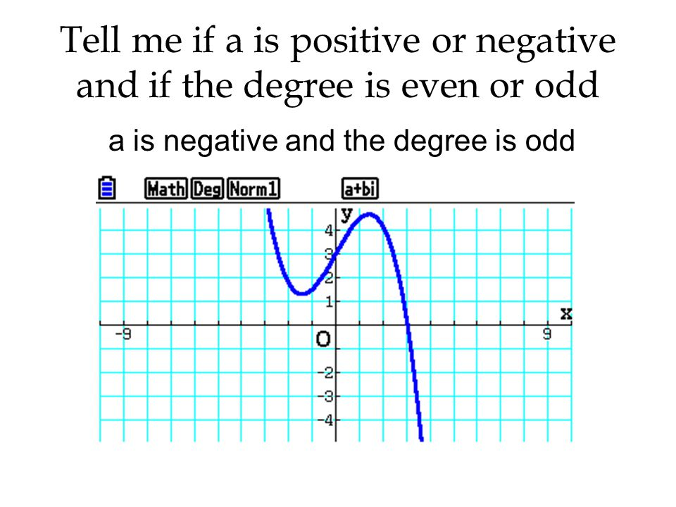 a is negative and the degree is odd