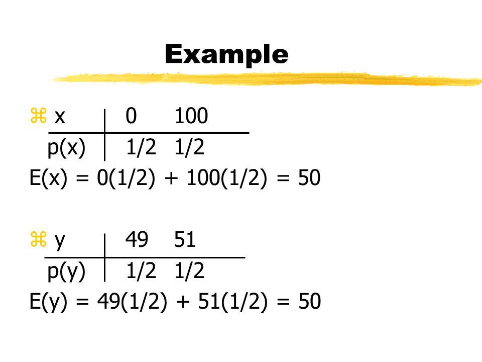 Example z x0100 p(x)1/21/2 E(x) = 0(1/2) + 100(1/2) = 50 z y4951 p(y)1/21/2 E(y) = 49(1/2) + 51(1/2) = 50