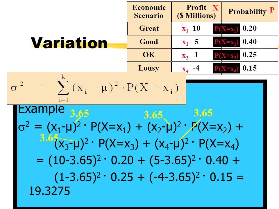 Rules for E(X), Var(X) and SD(X)  adding a constant a zIf X is a rv and a is a constant:  E(X+a) = E(X)+a z Example: a = -1  E(X+a)=E(X-1)=E(X)-1