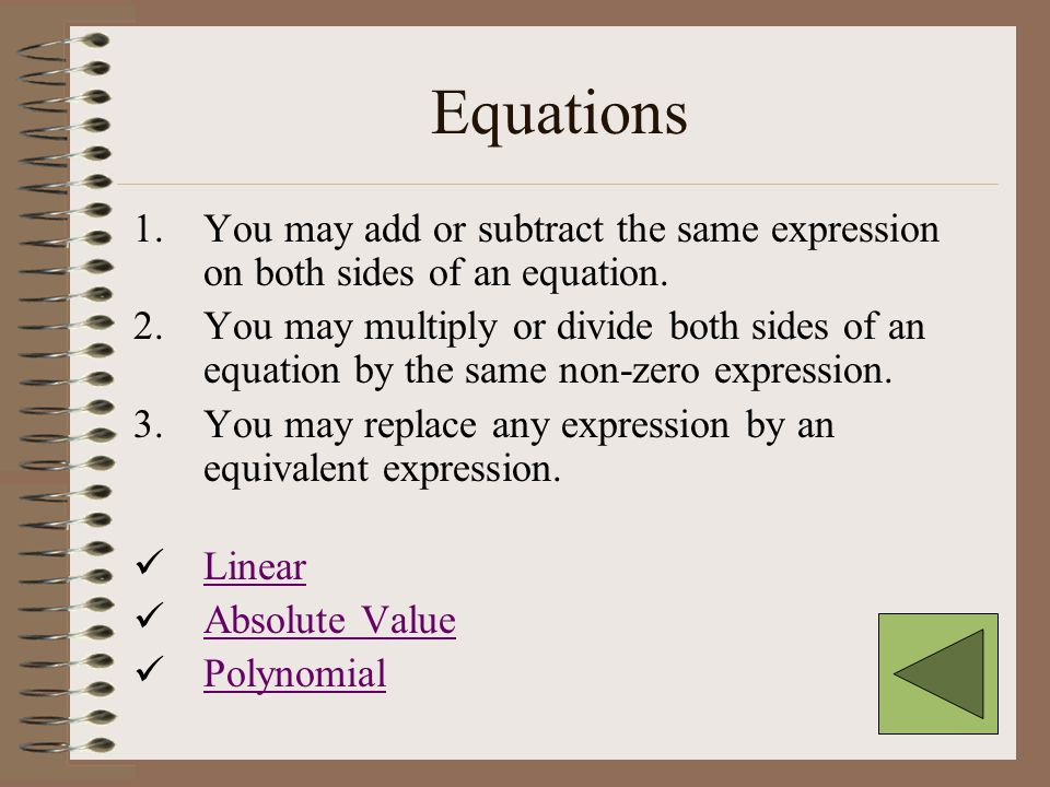 Topics Equations Inequalities Lines SystemsSystems of Linear Equations in Two Variables Factoring Laws of Exponents Functions