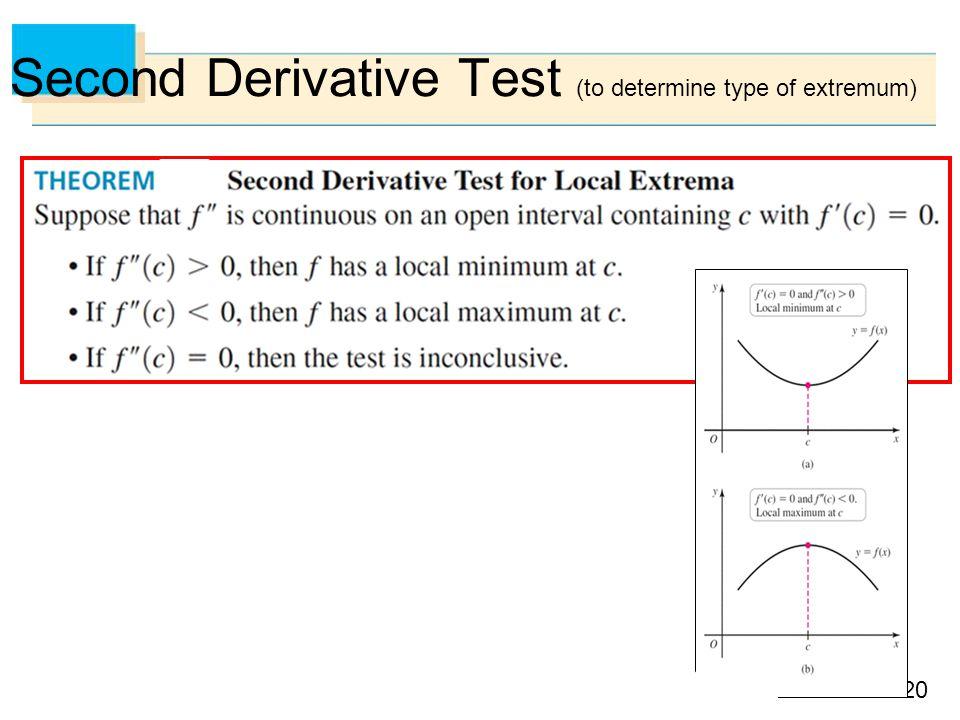 20 Second Derivative Test (to determine type of extremum)