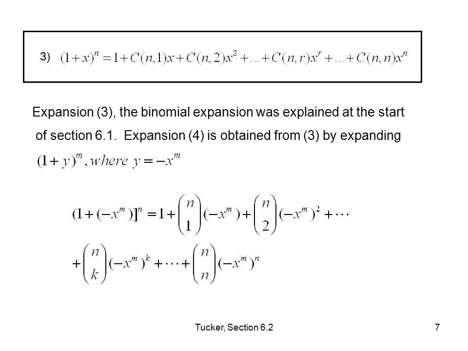 Tucker, Section 6.28 For identity 5, ( 1 – x) -n = = ( 1 + x + x 2 + … ) n Since = ( 1 + x + x 2 + … ) (eq.